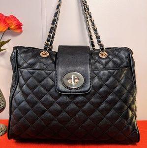 Aldo Black Vegan Leather Quilted Tote Bag